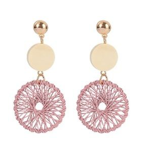 Pink fashion drop earrings